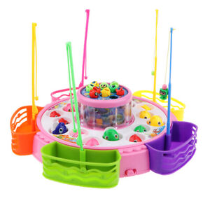 Fishing Game Set with Creel Electric Magnetic Rod Water Fun Toy for Boy Girl