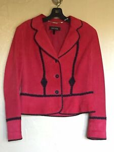 ESCADA Designer Women Fully Lined Red Suede Day to Evening Jacket Size 40 (US 8)