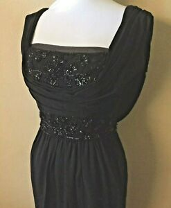 black vintage gown dress mother of bride boat neck shelf bust ruched tall S or M