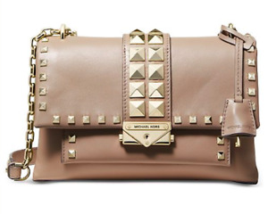 🌺🌹 Michael Kors Cece Studded Leather Chain Shoulder Bag TruffleGold
