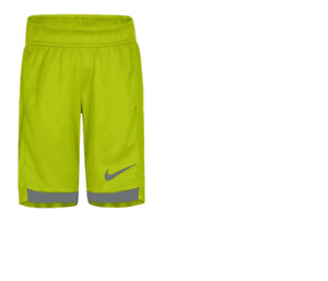 NEW Nike Little Boys DRY DRI-FIT Shorts SIZE 7 Volt Yellow & Gray FREE SHIPPING