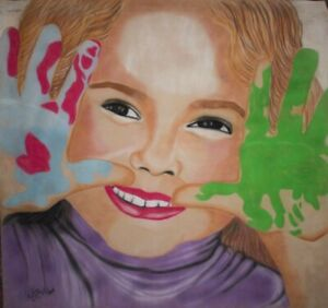 Artistic handmade Painting Pastel Pencil technique Name: Happiness