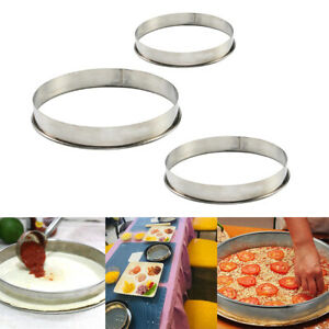 3pcs Non Stick Metal Round Rings Mold Pastry Rings for Pizza Pan Baking