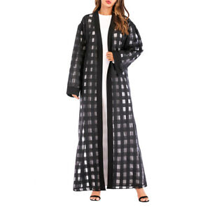 1pc Clothes Long Sleeve Fashion Loose Gingham Maxi Robe Clothes for Women Ladies