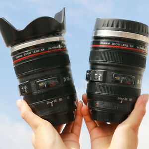 350MLCreative Stainless Emulation Steel Camera Lens Mugs Coffee Tea Cup Novelty