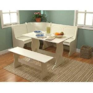 3 pc Antique White Breakfast Nook Dining Set Corner Booth Bench Kitchen Table