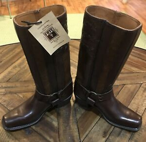 FRYE HARNESS BOOTS AMERICANA STITCHED AMERICAN FLAG Ladies Size 8.5