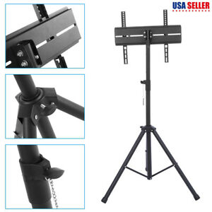 Black outdoor Mobile Tripod TV Stand Portable Foldable Mount Shelf (26