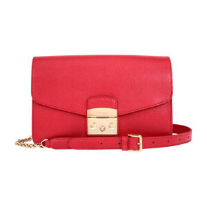 Furla Metropolis Ladies Small Red Ruby Leather Shoulder Bag 972393