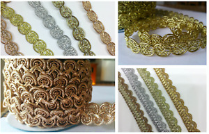 Sparkly Braided GOLD&SILVER Ribbons lace trim for craft DIY sewing decor Wedding
