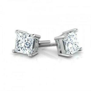 FASHION DESIGN F SI1 4.00 CT PRINCESS DIAMOND STUD EARRINGS 14 KARAT WHITE GOLD