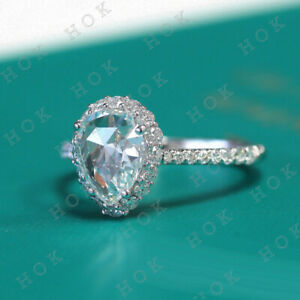 3 Ct Pear Cut Diamond 10k Solid White Gold Halo Engagement Ring For Women's