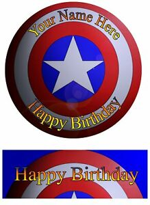 Edible Round Cake Topper Captain America Birthday -wafer sheet, icing sheet.830
