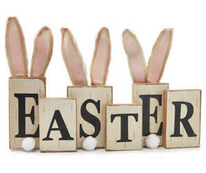 3 D quot;Easterquot; Bunny Ear Wood Décor $24.95