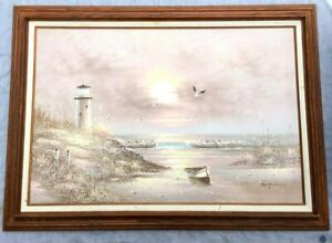 Large OCEAN SHORE LIGHTHOUSE Signed And Framed Original Oil Painting L@@K $69.99