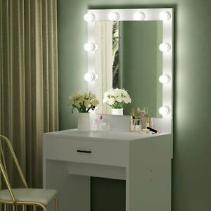 Tribesigns Lighted White Vanity Table Set with Huge Mirror for Bedroom Makeup US