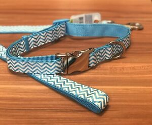 Dog Collar and Leash Set Large Sky  Blue and White Top Paw Puppy Pet Shevron