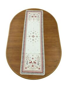 Provencal Woven Holiday Snowflakes Reindeer#x27;s Runner Vallee 66X19 Made France