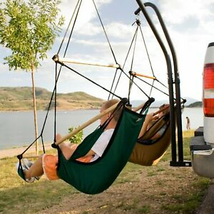 Double Hammock Trailer Hitch Steel Hanging Chair Stand Portable Outdoor Camping