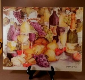 Cutting Board - Wine, Grapes and Cheese - 12