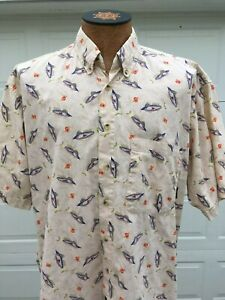 Timberland Mens Large Weather Gear Fish Button Up Shirt Great Condition $16.95