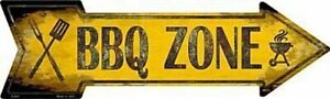 BBQ Barbecue Zone Directional Metal Arrow Sign 17