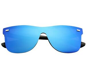 Mens Womens Mirrored Rimless Color Lens Reflective Retro Vintage Flat Sunglasses