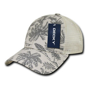Tropical Trucker Cap - Curved Bill, Palm Trees and Ferns (Decky 1143-STN, New)