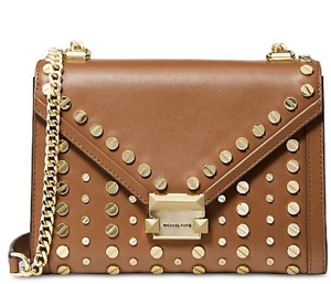 🌺🌹 Michael Kors Whitney Studded Leather Shoulder Bag AcornGold
