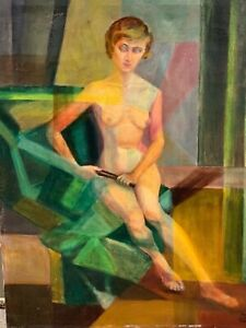 CUBIST NUDE WOMAN OIL PAINTING BY HELENE CALLICOTTE CONDON $950.00