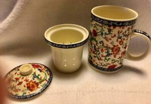 THREE PIECE CHINESE PORCELAIN TEA CUP MUG WITH LID AND INFUSER STRAINER...