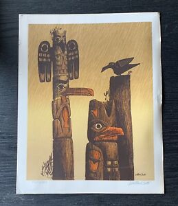 Walton Butts vintage lithograph TOTEMS pencil signed 16 x 13 WA $84.00