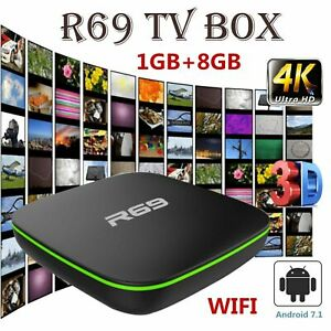 2019 R69 Smart TV Box Android 7.1 Quad Core 1+8G HD 2.4GHz WiFi 4K Media Player