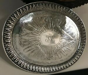 STERLING TRAY STANDING LION 18.6 OZ ANTIQUE BUT DON'T KNOW EXACT AGE.