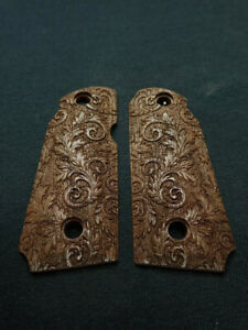 Floral Scroll Walnut Kimber Micro 380 Grips Checkered Engraved Textured