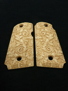 Floral Scroll Maple Kimber Micro 9 Grips Checkered Engraved Textured