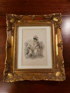 Beautifully Framed Antique French Lithograph Titled Honeysuckle 18th Century $95.00