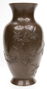 Antique Japanese Meiji Period Bronze Vase Flowers High Quality Japan Edo Old