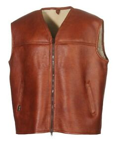 Hollert Men's Lambskin Vest Firminius without Collar Cognac Real Leather Hunting