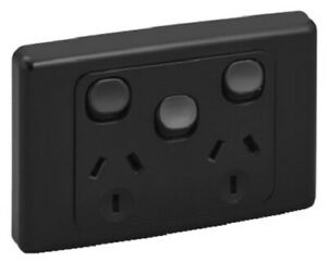 Clipsal 2000 SERIES TWIN SWITCHED SOCKET 10A 250V 3 Pin Flat Extra Switch BLACK