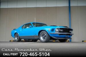 1970 Ford Mustang Mach 1 Grabber Blue  4-Speed  White Knitted Viny Mach 1 Grabber Blue  4-Speed  White Knitted Viny SBF Top Loader Blue