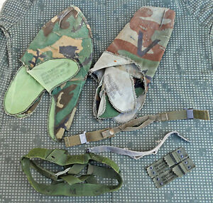 US  Military steel pot M1 chin straps nape cover PASGT LOT ERDL RDF woodland