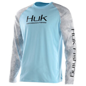 Huk Men's Double Header Vented Shirt, Color: Ice Blue H1200136-450