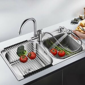 Stainless Steel Dish Drainer Rack Over the Sink Storage Roll Space-Saver Holder