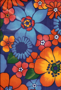 Oilcloth Fabric Tropical London Navy Blue Pattern Sold in Yard or Bolt