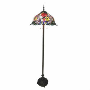 Floor Lamp Stained Glass Tiffany Style Floral Roses Design 20