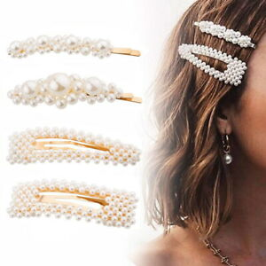 4 Pearl Hair Clip Snap Barrette Stick Hair Pin Hair Accessories Prom Wed Bridal