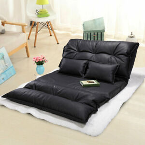 Modern Floor Sofa Bed Adjustable PU Leather Video Gaming Sofa Bed with 2 Pillows $109.99