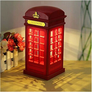 Retro Telephone Booth LED Night Light Desk Table Lamp USB/Battery Charging