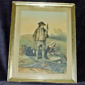 Antique Framed French Lithograph by Hippolyte Lalaisse Charpentier Book Illus. $125.00
